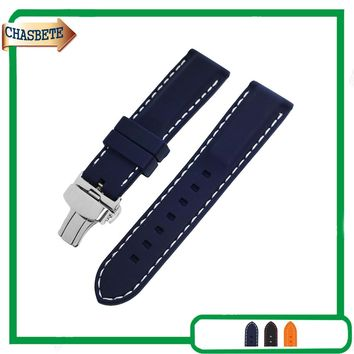 Silicone Rubber Watch Band for Orient Watchband 22mm Men Women Resin Belt Wrist Loop Strap Bracelet Blue + Tool + Spring Bar