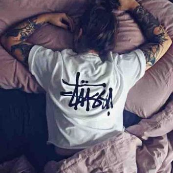 Stussy Fashion Classic Women Men Casual Back Big Logo Print Summer Short Sleeve Round Collar Cotton T-Shirt Top