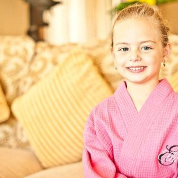 Children's Monogrammed Robe Flower Girl Robe Kid's Robe Personalized Robe Waffle Robe Kimono Spa Robe Personalized Bridesmaids Gift