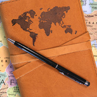 World Map Leather Journal *Free Customization*