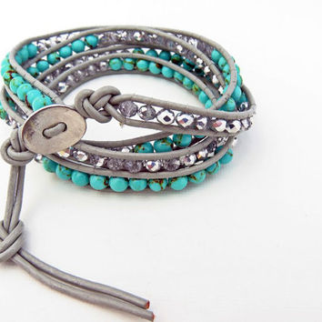 Imitation Turquoise and Silver Beaded Wrap Bracelet