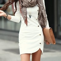 Trendy Buttons Design Long Sleeve Round Collar Solid Color Pullover Dress For Women
