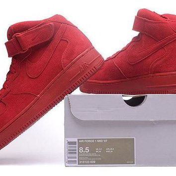ONETOW Nike Air Force 1 Mid Gym Red For Women Men Running Sport Casual Shoes Sneakers