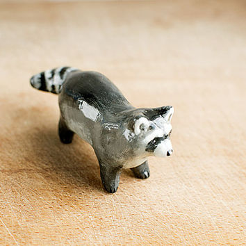 Animal Raccoon Totem figurine, grey home decor, tiny zoo, wild animals, woodland, black and white, racoon, gift idea for racoon lovers