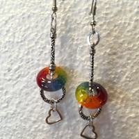 Handmade Glass Dangle Earrings - Valentine Gift for Her - Rainbow Glass Charm - Matching Pendant - LGBT Jewelry