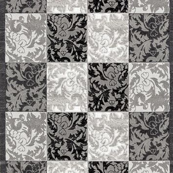 2516 Gray Damask Contemporary Area Rugs