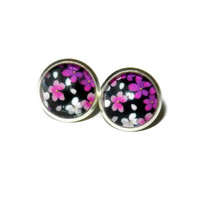 Purple, Pink and White Flowers Post Earrings