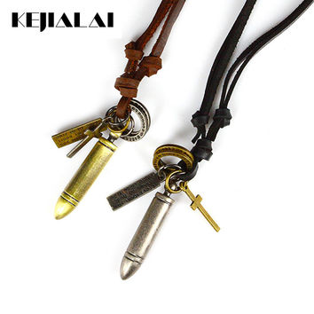 Punk Jewelry Men Necklaces & Pendants Gold and Silver Color Bullet Pendant Necklace Genuine Leather Rope Chain for Men Women