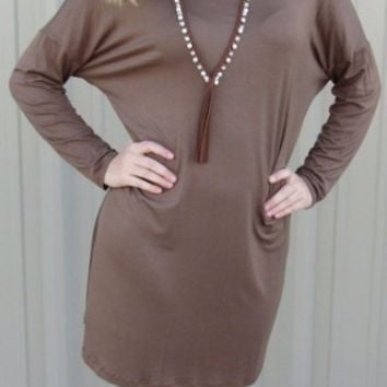 Solid Knit Tunic Dress
