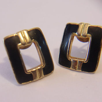 Black Rectangular Post Earrings Vintage Enamel Jewelry Retro Geometric Fashion Accessories For Her