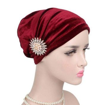 CUPUPO2 Women Cancer Chemo Hats For Women with cancer Beanie Turban Head Wrap Cap Velvet Headwear Bandana headscarf Tichel