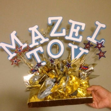 Mazel Tov Table Centerpieces, Bar Mitzvah, Bat Mitzvah, Congratulations