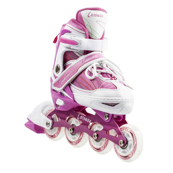 Kids Caraman Adjustable Inline Wheel Skates - S, Pink