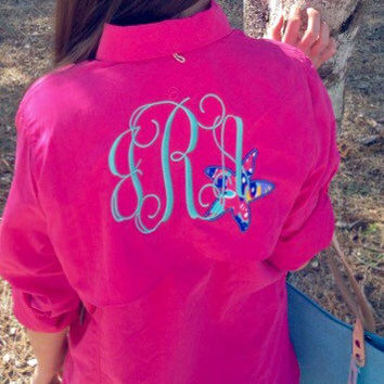 Monogrammed Fishing Shirt With Lilly Pulitzer Accent