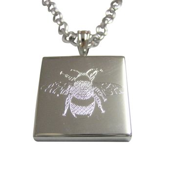 Silver Toned Etched Bumble Bee Pendant Necklace