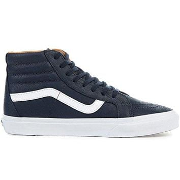 Vans PREMIUM Leather SK8-HI REISSUE mens skateboarding-shoes VN-A2XSBMRU_8 - Parisian Night/True White