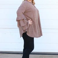 Do The Ruffle Sleeve Tunic With Keyhole ~ Mocha ~ Sizes 12-18