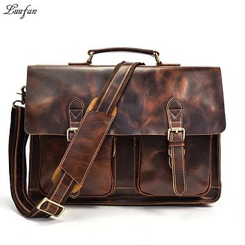 Men Briefcase Bag Crazy Horse Leather Man Handbag Genuine Cow Leather Messenger Bags Mens Laptop Business Office Shoulder bag