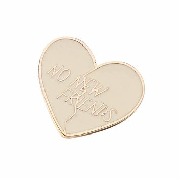 No New Friends Broken Heart Enamel Pin in Cream