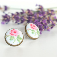 Stud Earrings - Shabby Chic Rose Earring Studs - Pink and Green Flowers on White Earrings - Romantic Fabric Buttons Jewelry - Antique Posts