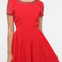 Staring at Stars Crepe Studded Shoulder Dress