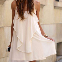 White Chain Spaghetti Strap Ruffled Dress