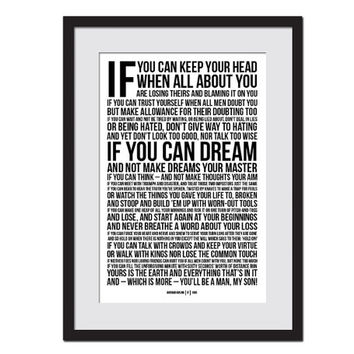 If by Rudyard Kipling - Art Print - Poetry Quote Poster - Motivational Inspirational Typography Poster - Graduation Gift- 12 x 18 Wall Art