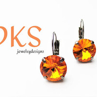 Tangerine, Swarovski Crystal, 12mm Lever Back Earrings, Drops, Dangles, Hematite Setting, DKSJewelrydesigns, FREE SHIPPING