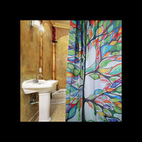 Colorful Tree Designed Shower Curtain w/Rings