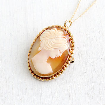 Vintage Carved Shell Cameo Necklace- 1950s Carved Shell 12k Gold Filled Pendant Brooch Pin Jewelry Hallmarked WRF