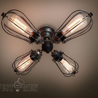 vintage ceiling light  semi flush mount kitchen 2014 new antique 4 iron cage ceiling lamp Edison bulb steampunk industrial lighting CEFAN