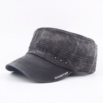 Mens Vintage Washed Cotton Flat Top Hats Outdoor Exercise Army Hat Baseball Caps Adjustable