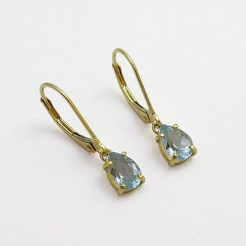 14k Gold Drop Earrings - Blue Topaz Dangle Earrings - Delicate Solid Gold Jewelry - Gemstone Earrings