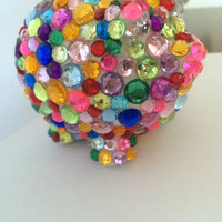 Colorful Rhinestone Piggy Bank