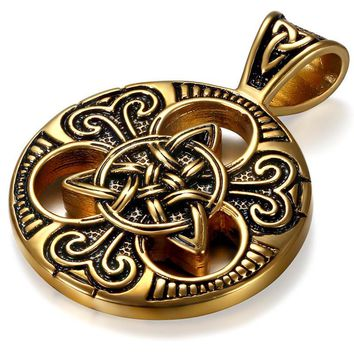 SHIPS FROM USA 2017 Fashion Retro Gold Stainless Steel Necklace Women Jewelry Ethnic Celtic Knot Men's Pendants Necklaces
