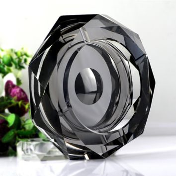 Amlong Crystal Octagon Black Large Crystal Ashtray 6 Inch for Cigarettes or Ciga