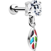 Silver 925 Multi Mosaic Leaf Gem Dangle Cartilage Tragus Earring