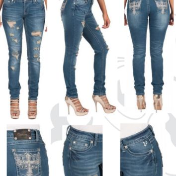 Vivi Diva Jeans - Skinny- Cut - Ripped - Cross Pocket -Embroidered/Rhinestones