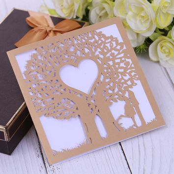 Eleva Love Tree design laser cut thank you cards,sweet 16 party decorations wedding invitations party favors sticker cards set