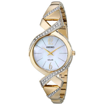 Seiko SUP266 Women's Core Solar MOP Dial Yellow Gold Steel Swarovski Crystal Accented Watch