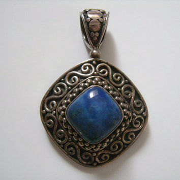 BA Suarti BALI Balinese Artisan Jewellery Designer From Southeast Asia Indonesia 925 Sterling Silver Genuine Blue Lapis Lazuli Stone Pendant