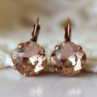 Pink Earrings... Swarovski Cushion Cut Diamond Shaped Square... Antique Copper... Vintage Rose Earrings