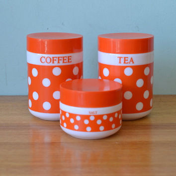 Retro Italian Kitchen canisters Per Alimenti orange and white polkadot