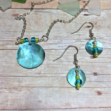 SUMMER SALE...Abalone Shell Necklace Friendship Gift Beach Jewelry Best Friend Gift Pendant Necklace and Earring Set