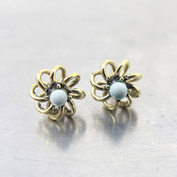"""Turquoise Gold Stud Earrings, 14K Yellow Gold Flower Turquoise Bead Studs, .25"""" 1/4 Inch"""