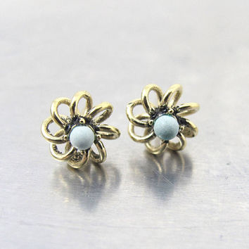 "Turquoise Gold Stud Earrings, 14K Yellow Gold Flower Turquoise Bead Studs, .25"" 1/4 Inch"