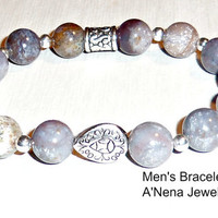 "Bracelet For Men Genuine Grey Jasper Silverplated Copper    ""The Secret To Being Comfortable In Your Skin """