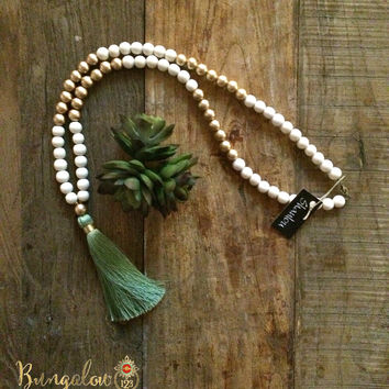 Sage Tassel ShanLou Necklace