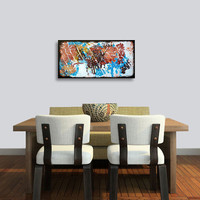Original Abstract Art Acrylic Painting - Contemporary Modern Art on Canvas - Earth Tone Wall Decor 12x24