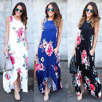 Womens Floral Long Maxi Dress Long Sleeve Evening Party Summer Beach Sundress HE